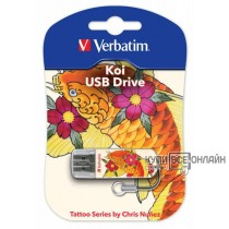 Флеш Диск Verbatim 16Gb Store n Go Mini TATTOO EDITION KOI 49886 USB2.0 белый