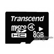 Флеш карта microSDHC 8Gb class4 + adapter Transcend (TS8GUSDHC4)