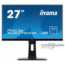"Монитор Iiyama 27"" ProLite XUB2790HS-B1 черный IPS LED 5ms 16:9 DVI HDMI M/M матовая HAS Pivot 250cd 178гр/178гр 1920x1080 D-Sub FHD 6.5кг"