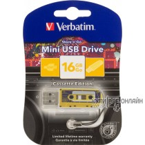Флеш Диск Verbatim 16Gb Mini Cassette Edition 49399 USB желтый