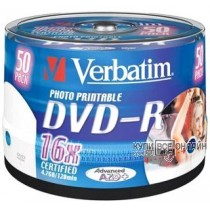 Диск DVD-R Verbatim 4,7Gb 16x Cake Box InkJet Printable (50шт) 43533