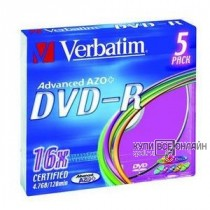 Диск DVD-R Verbatim 4.7Gb 16x Slim Color (5шт) 43557