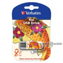 Флеш Диск Verbatim 8Gb Store n Go Mini TATTOO EDITION KOI USB2.0 белый