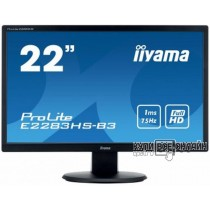 "Монитор Iiyama 21.5"" ProLite E2283HS-B3 черный TN+film LED 1ms 16:9 HDMI M/M матовая 1000:1 250cd 170гр/160гр 1920x1080 D-Sub DisplayPort FHD 4кг"