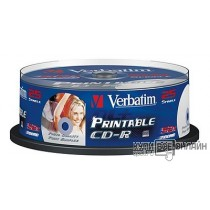 Диск CD-R Verbatim 700Mb 52x Cake Box (25шт) Printable (43439)