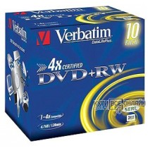 Диск DVD+RW Verbatim 4.7Gb 4x Jewel Case (10шт) 43246