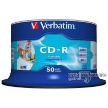 Диск CD-R Verbatim 700Mb 52x Cake Box (50шт) Printable (43438)