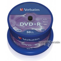 Диск DVD+R Verbatim 4.7Gb 16x Cake Box (50шт) 43550