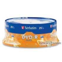 Диск DVD-R Verbatim 4.7Gb 16x Cake Box (25шт) (43 730)