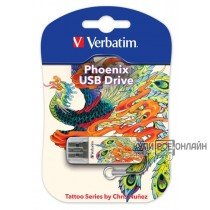 Флеш Диск Verbatim 16Gb Store n Go Mini TATTOO EDITION PHOENIX 49887 USB2.0 белый узор
