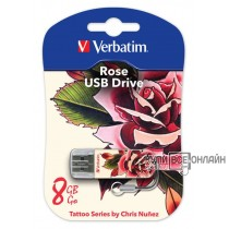 Флеш Диск Verbatim 8Gb Store n Go Mini TATTOO EDITION rose USB2.0 белый