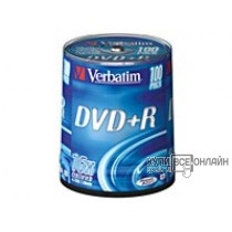 Диск DVD+R Verbatim 4.7Gb 16x Cake Box (100шт) 43551